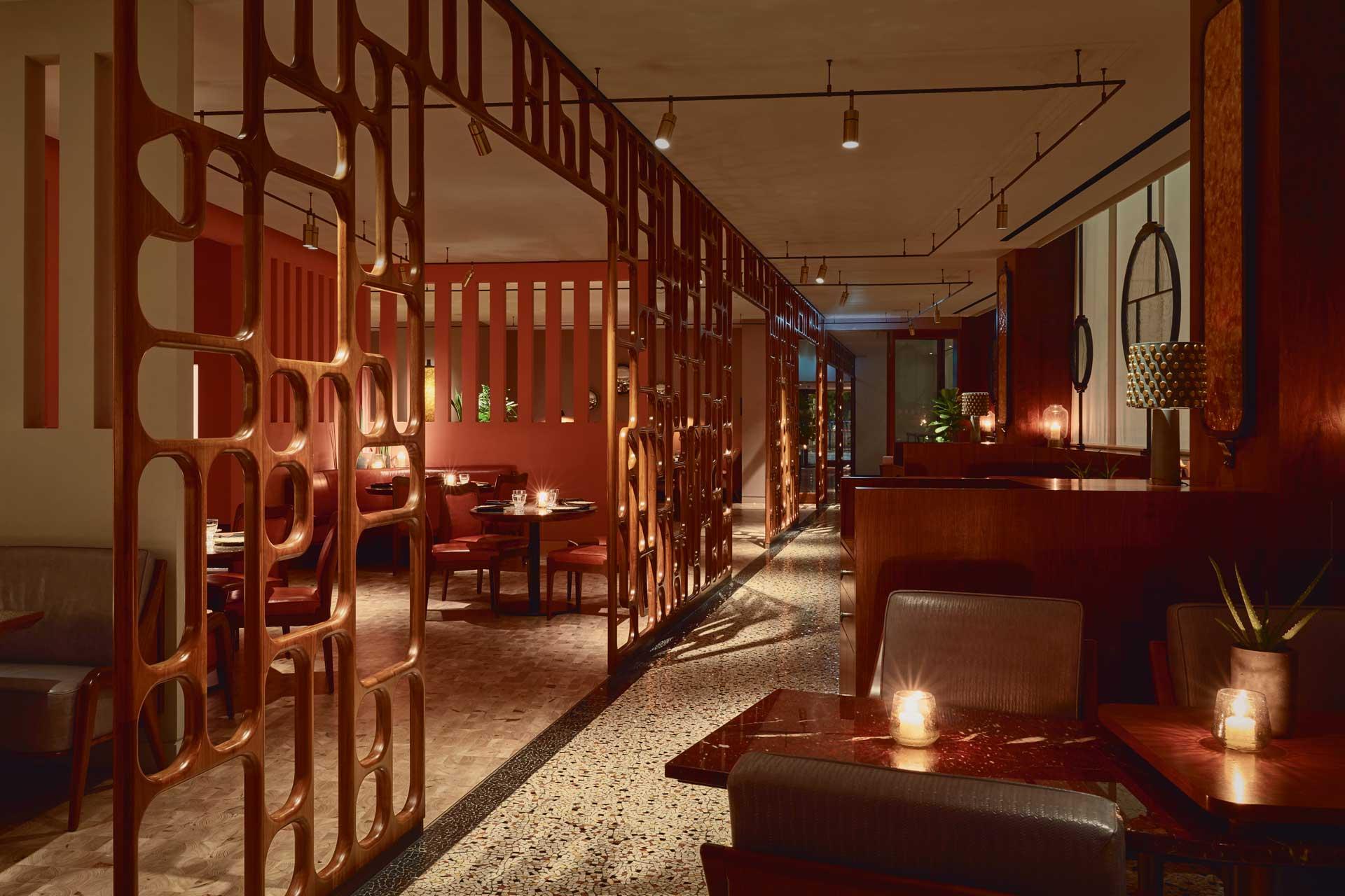 Interiors of Mexican fine-dining restaurant Ella Canta
