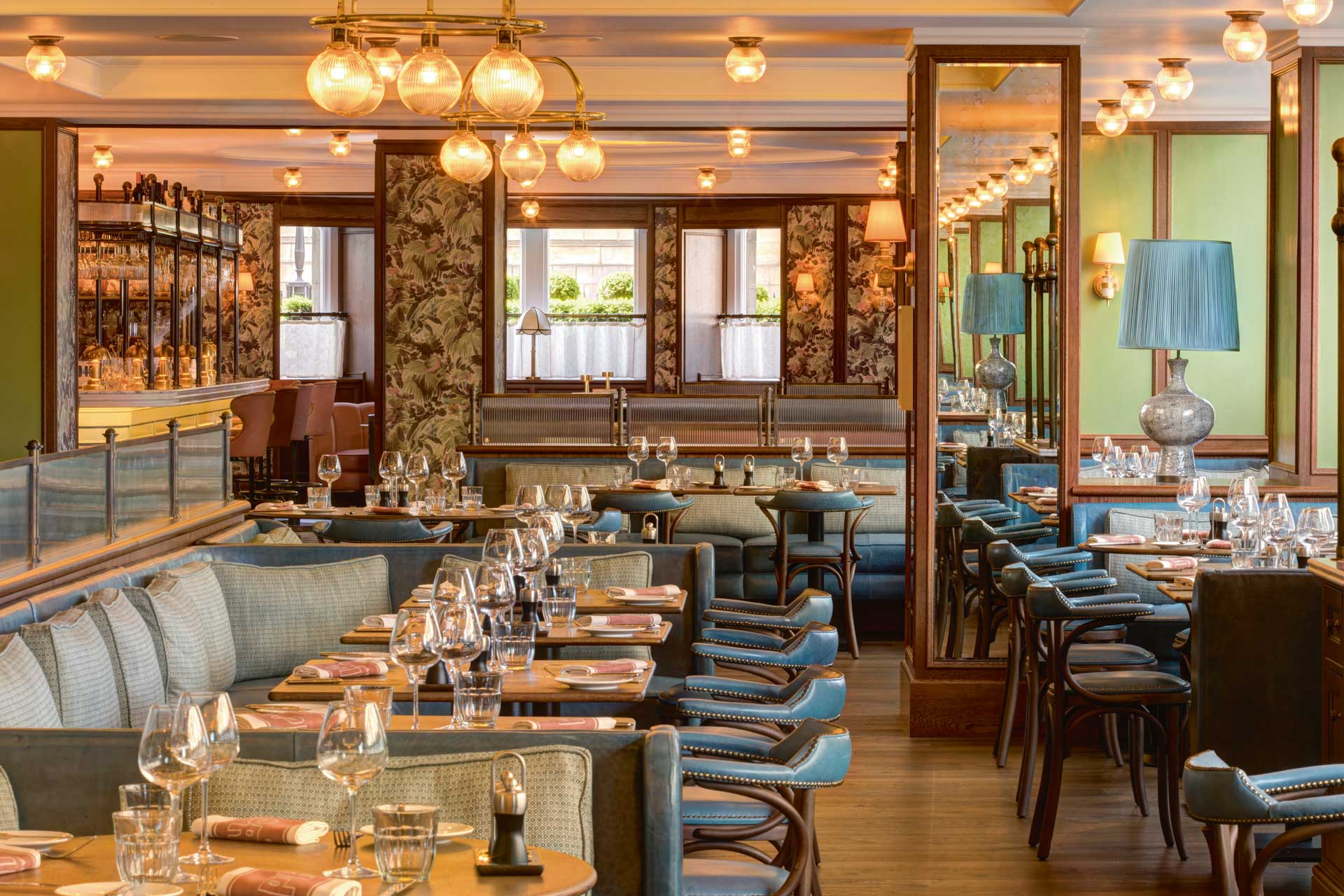 Martin Brudnizki Design Studio and Olga Polizzi worked together on Brasserie Prince's interiors