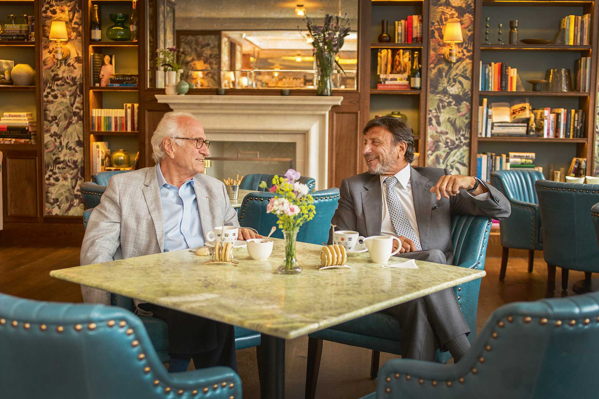 Michel Roux and Sir Rocco Forte in Brasserie Prince's library lounge