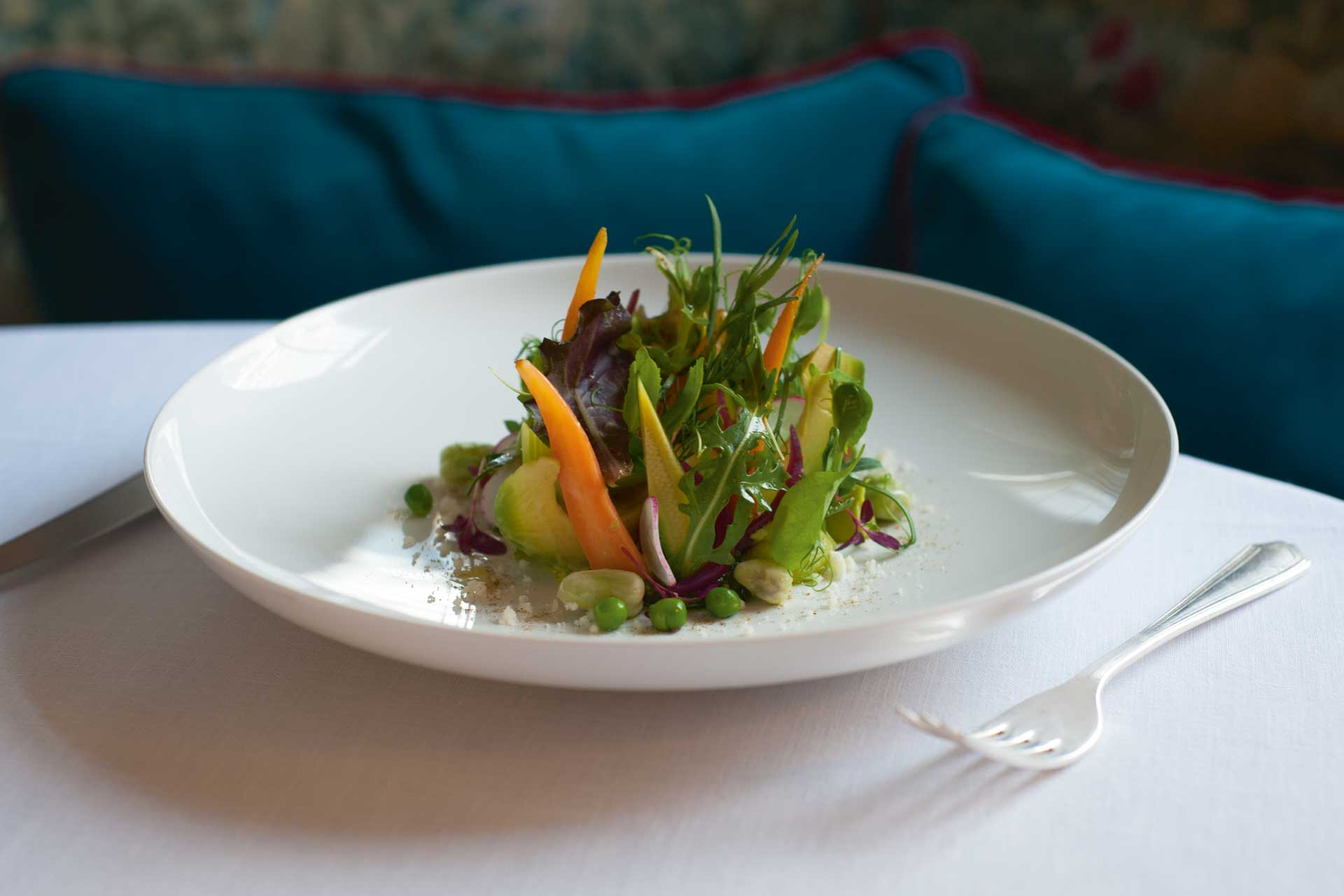 Summer vegetable salad with avocado, mixed seeds and pistachio pesto from Beck at Brown's