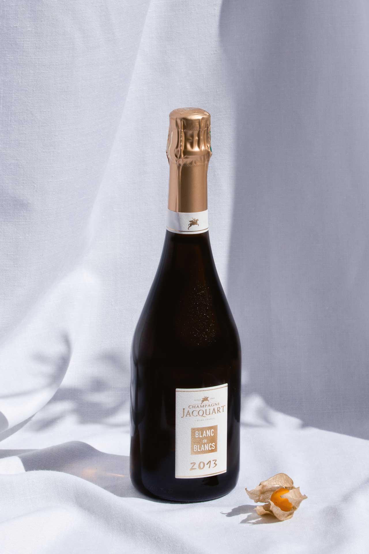 A bottle of Champagne Jacquart's Blanc de Blancs 2013