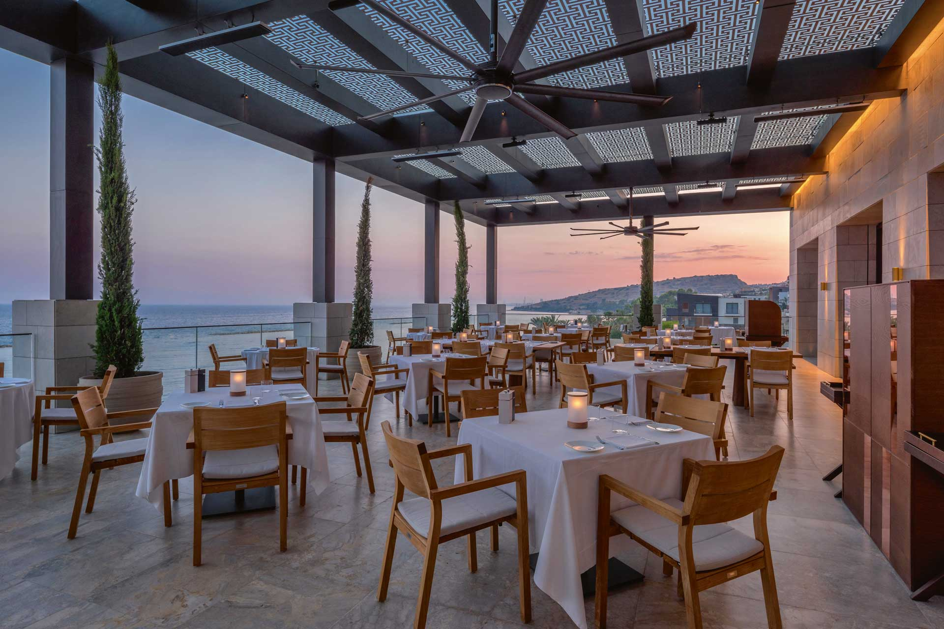 The terrace at Ristorante Locatelli overlooks the Mediterranean and Limassol