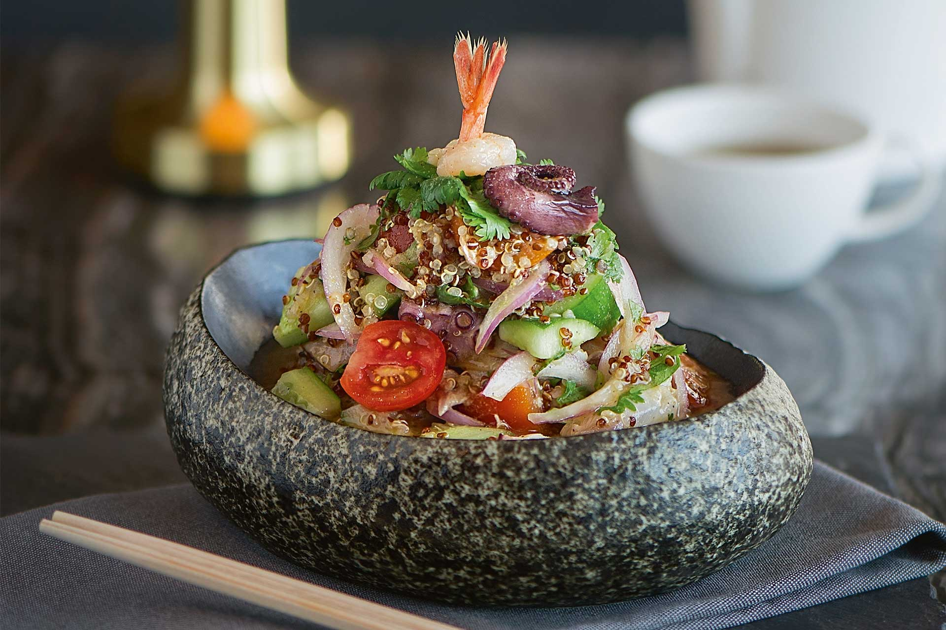 Seafood ceviche dish available at Matsuhisa Limassol in Cyprus
