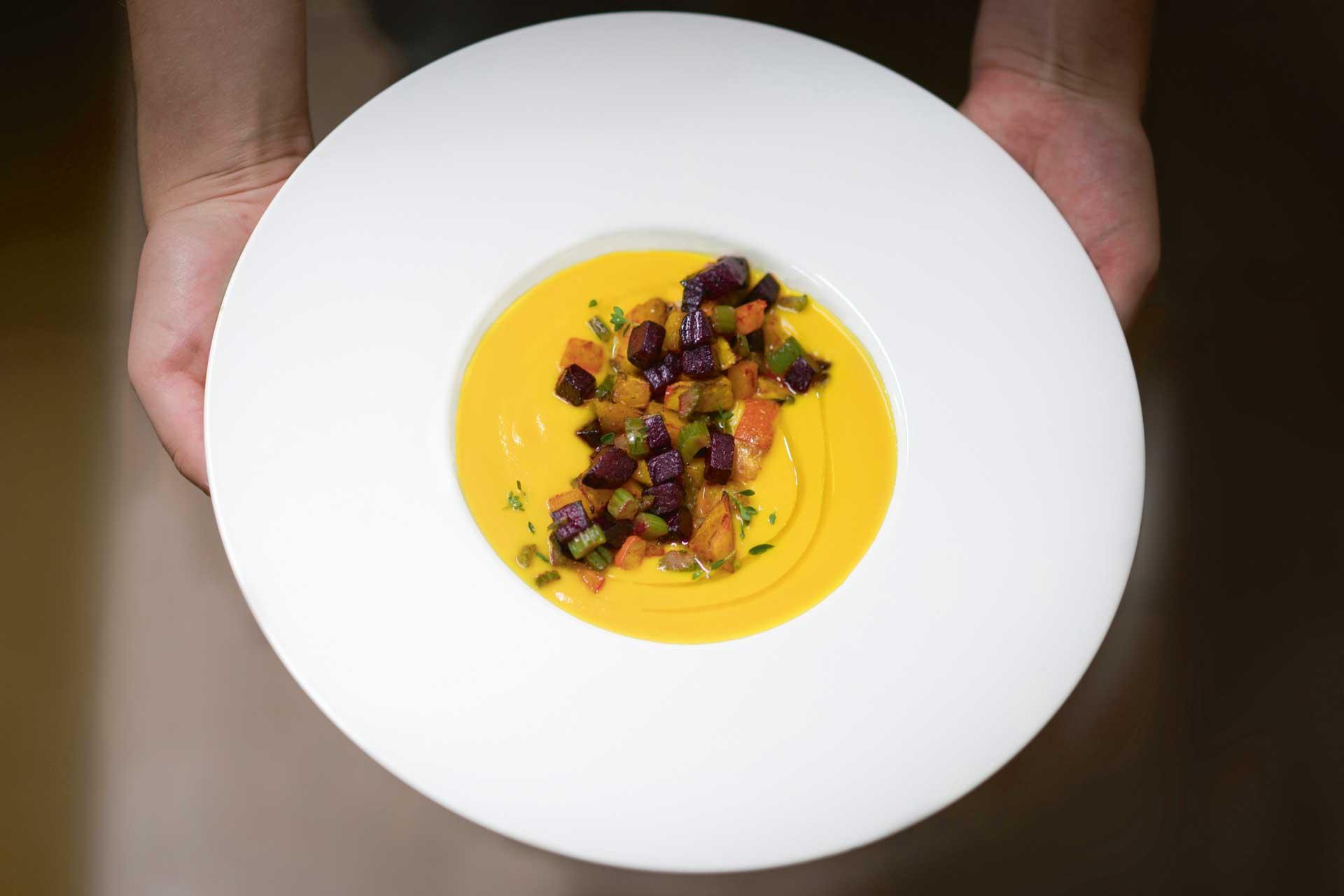 Pumpkin soup dish at Italian hotel La Vimea