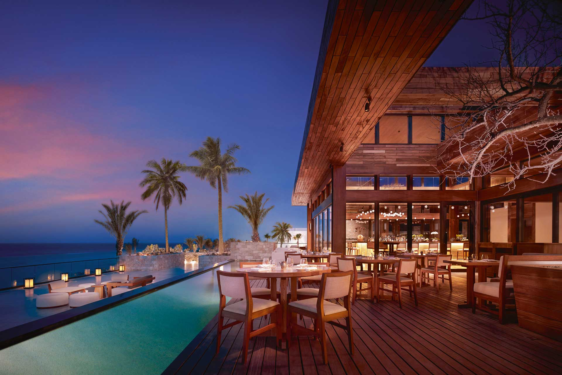 External terrace at Nobu Hotel Los Cabos