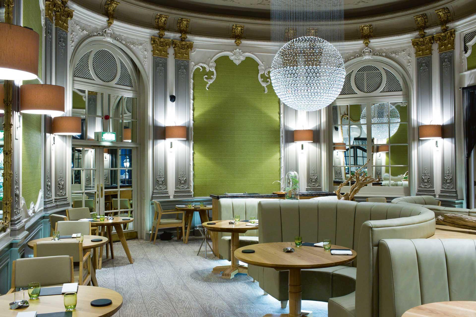Interiors of hotel restaurant Simon Rogan at The French
